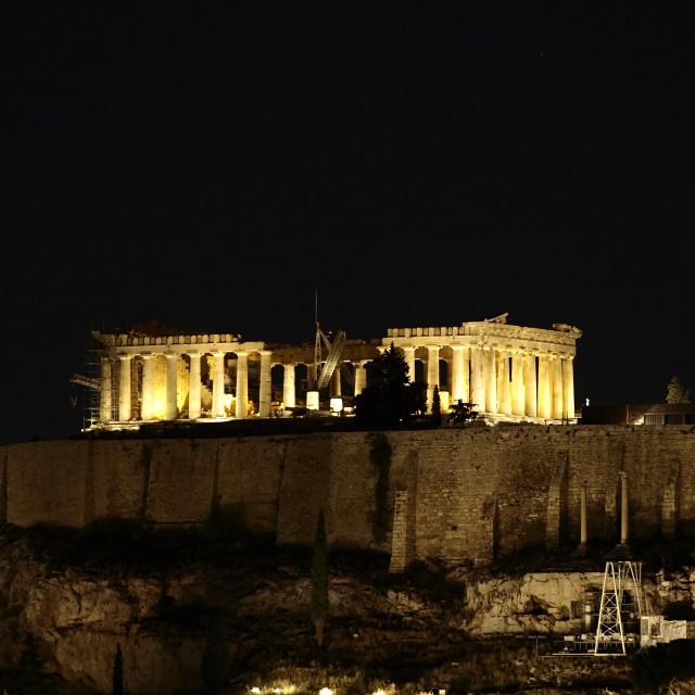 """""""Parthenon temple illuminated"""" stock image"""