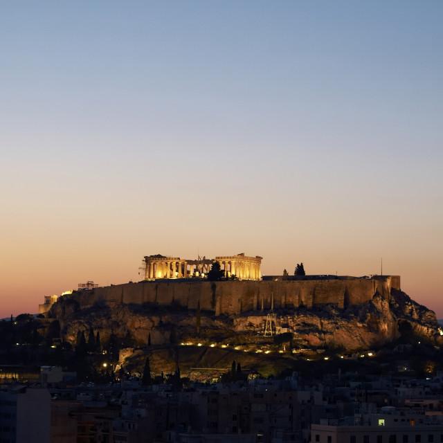 """Acropolis illuminated in the twilight, Greece"" stock image"
