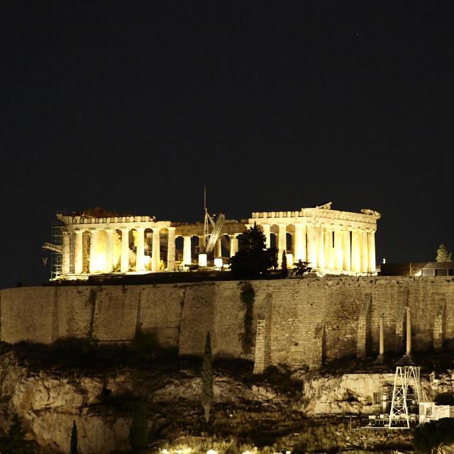 """Greece, Parthenon temple illuminated"" stock image"