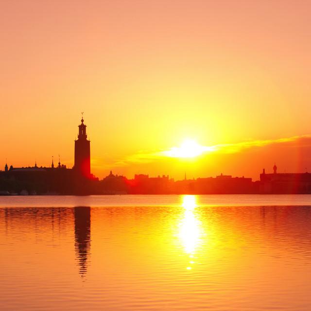 """""""Sweden - Stockholm Skyline at dawn."""" stock image"""