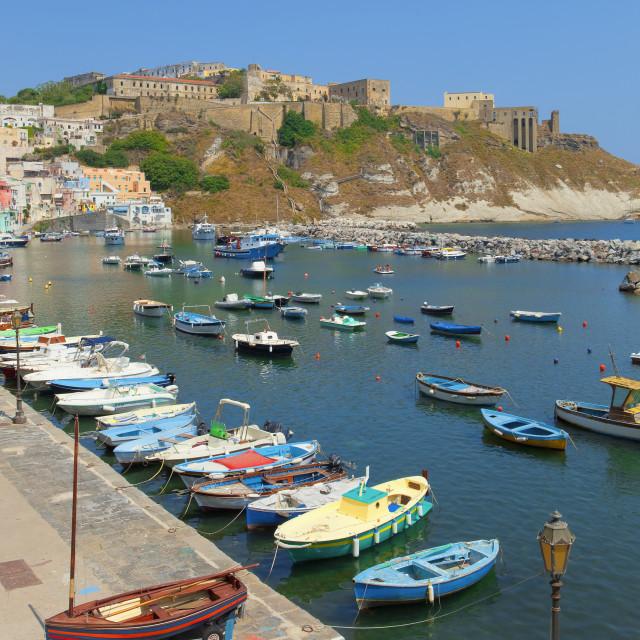 """Marina Corricella and Terra Murata, Procida Island, Italy"" stock image"