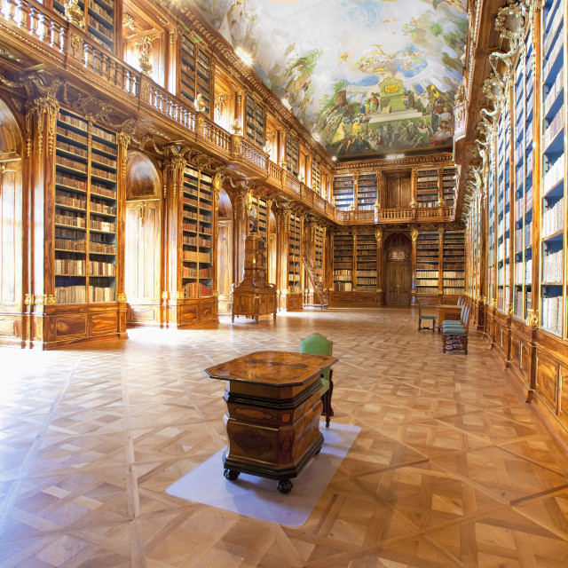 """CZECH REPUBLIC PRAGUE, STRAHOV MONASTERY LIBRARY - THE PHILOSOPHICAL HALL."" stock image"