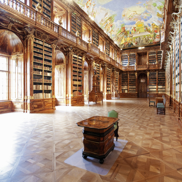 """CZECH REPUBLIC PRAGUE, STRAHOV MONASTERY LIBRARY - THE PHILOSOPHICAL HALL."" stock image"