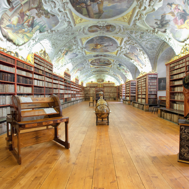 """CZECH REPUBLIC PRAGUE, STRAHOV MONASTERY LIBRARY - THE THEOLOGICAL HALL."" stock image"