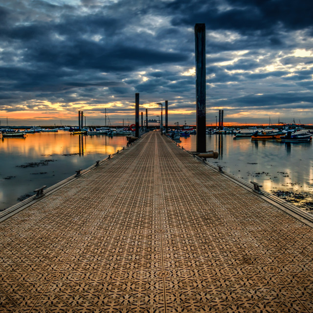 """Walkway to the Boats at West Mersea"" stock image"