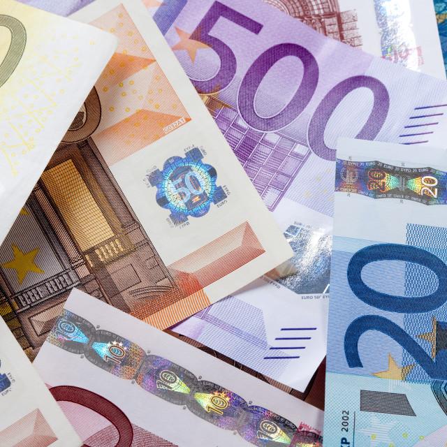 """""""EURO - EUROPEAN UNION BANKNOTES"""" stock image"""