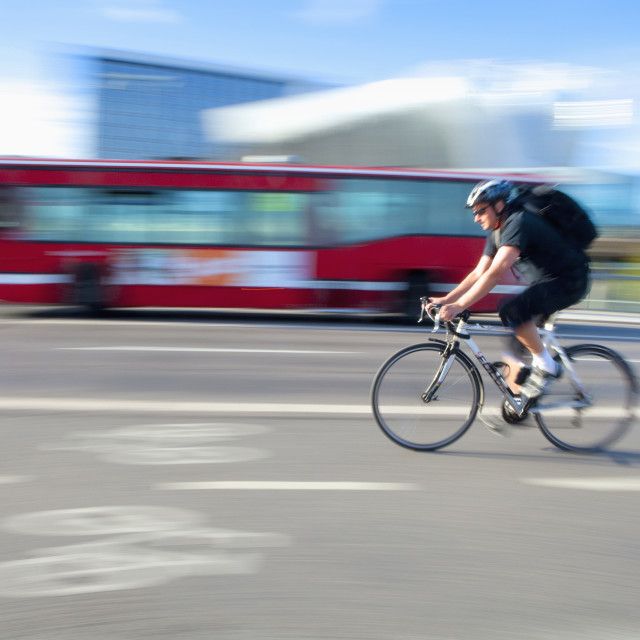 """Sweden, Stockholm - bicyclist in a bike lane"" stock image"