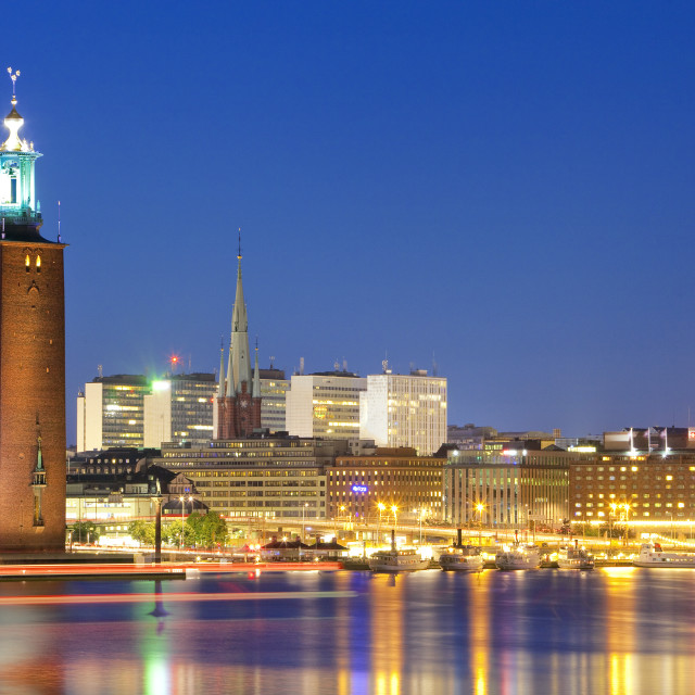 """""""Sweden, Stockholm - The Town Hall (Stadshuset) and City at dusk."""" stock image"""