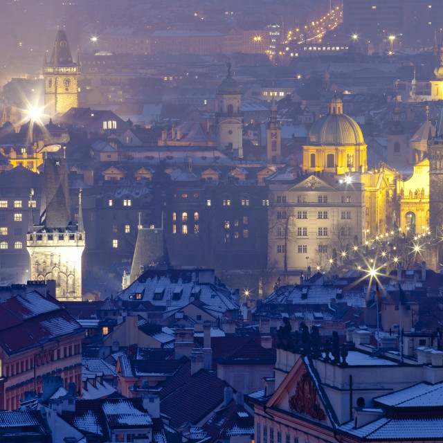 """""""Czech Republic, Prague - spires of the old town at dusk"""" stock image"""