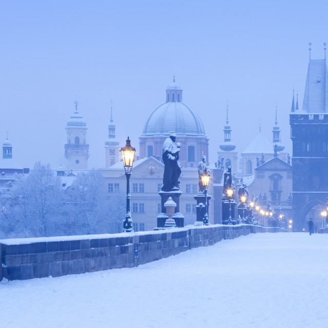 """Czech Republic, Prague - Charles Bridge in winter."" stock image"