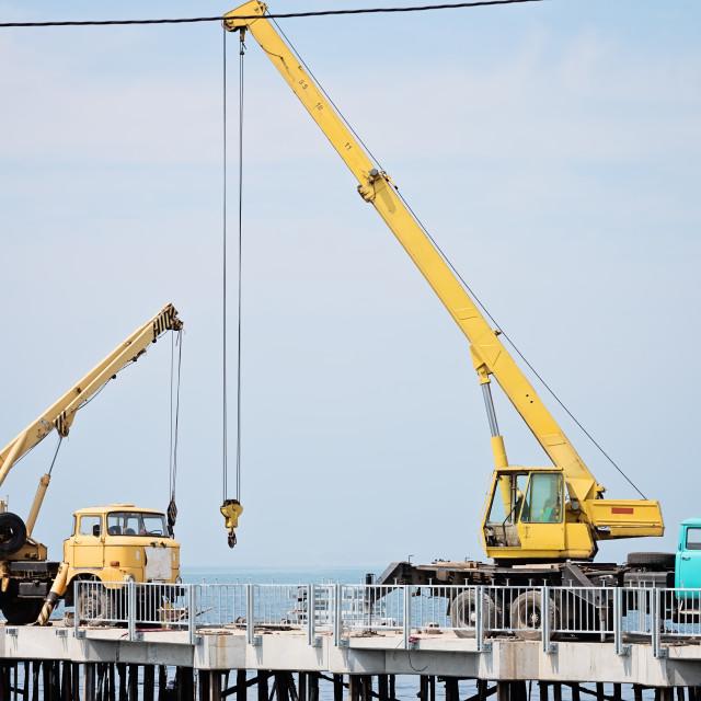 """Two Auto Cranes On The Quay"" stock image"