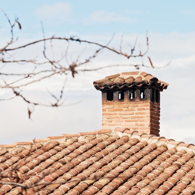 """""""Chimney On The Roof Of The Old Church"""" stock image"""