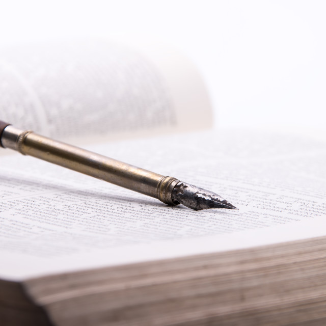 """Fountain Pen and old book"" stock image"