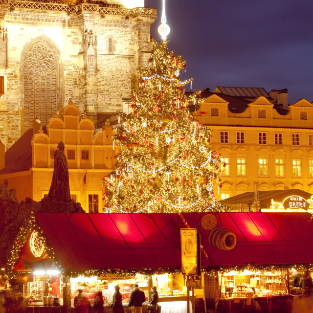 """czech republic, prague - christmas market and tree at the old town square"" stock image"