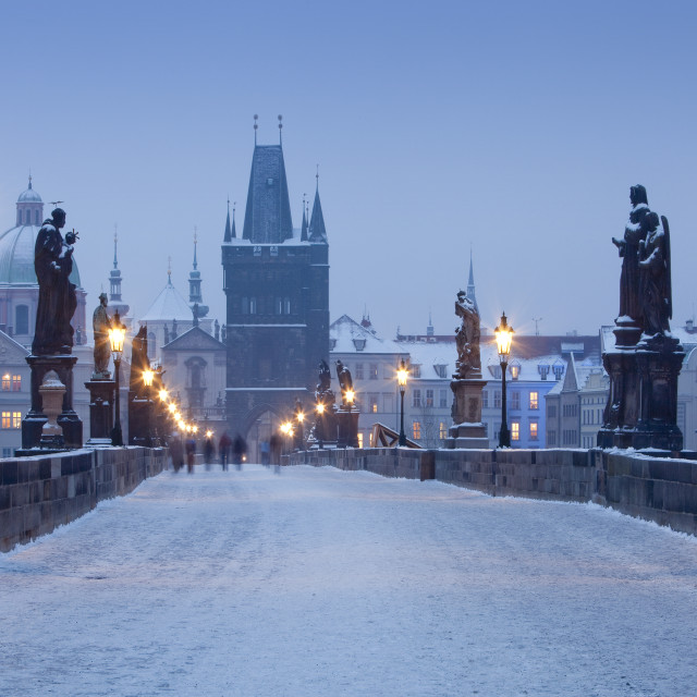 """Czech Republic Prague - Charles Bridge and spires of the Old Town at dawn"" stock image"