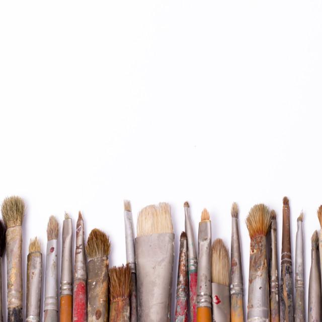 """""""Old used paintbrushes"""" stock image"""
