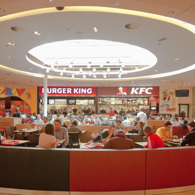 """czech republic, prague . palladium shopping mall - fastfood restaurants"" stock image"