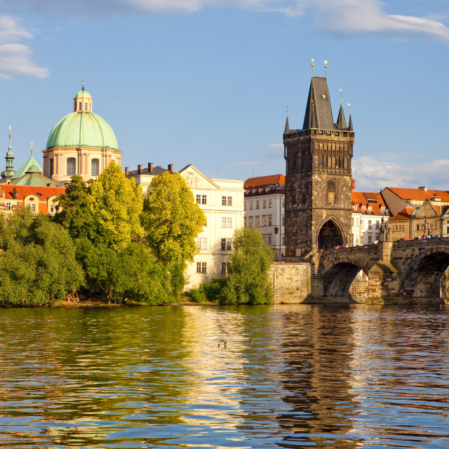 """czech republic prague - charles bridge and spires of the old town"" stock image"