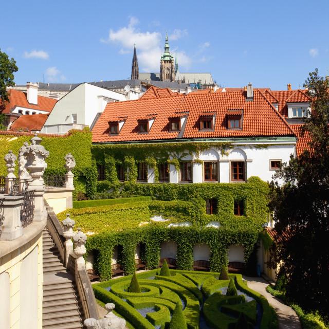 """""""czech republic, prague - 18th century vrtba garden (vrtbovska zahrada) and hradcany castle"""" stock image"""