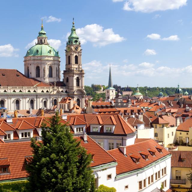 """czech republic, prague - st. nicholas church and roofs of little quarter (mala strana)"" stock image"