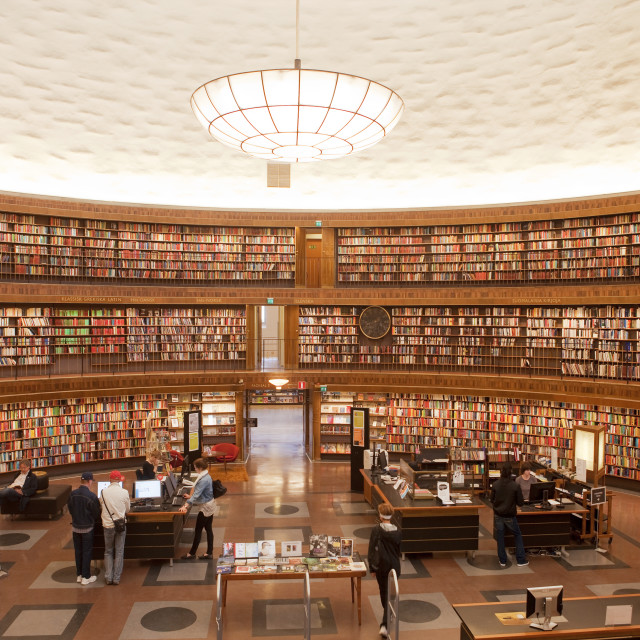 """Sweden, Stockholm - Interior of Stockholm City Library"" stock image"