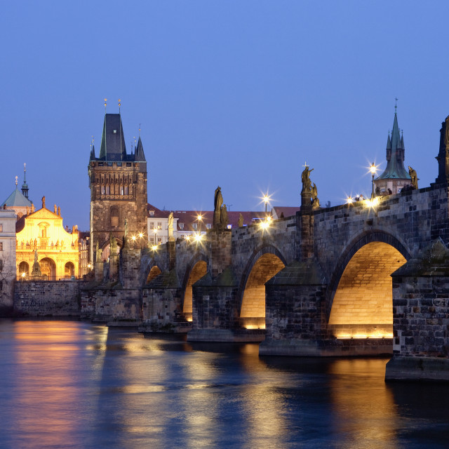 """czech republic prague - charles bridge and spires of the old town at dusk"" stock image"