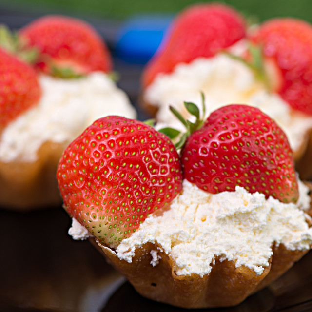 """Brandy snap with Strawberries and Cream"" stock image"