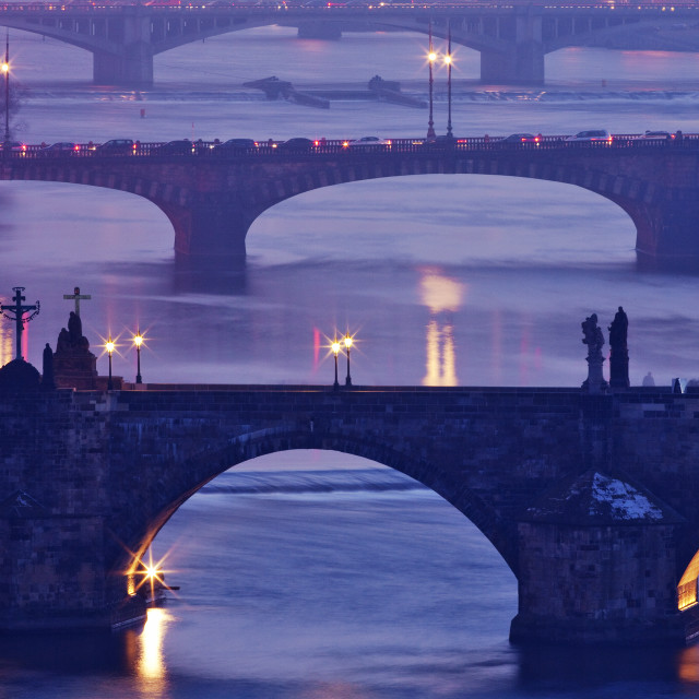 """Czech Republic, Prague - bridges over vltava river at dusk"" stock image"