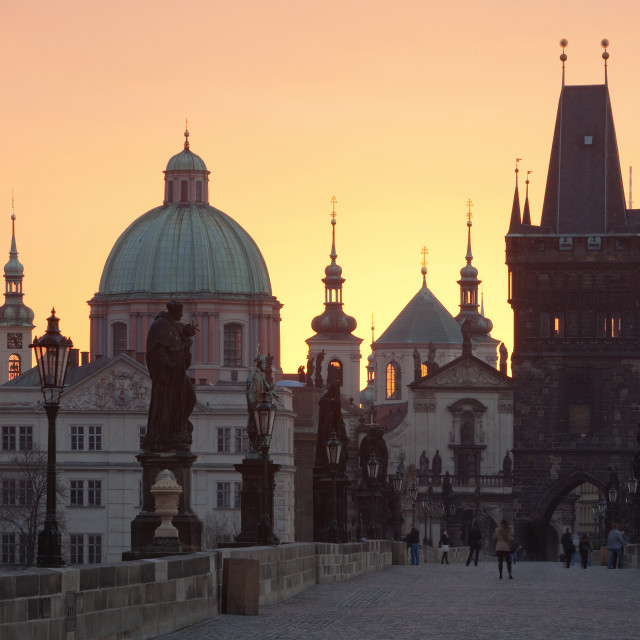 """czech republic prague - charles bridge at dawn"" stock image"