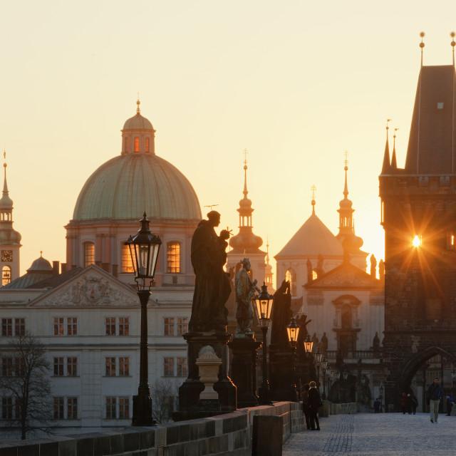 """czech republic prague - charles bridge at dawn"" stock image"