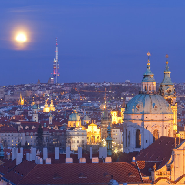 """""""czech republic, prague - st. nicolaus church and spires of the old town at dusk"""" stock image"""