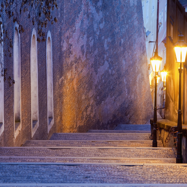 """""""czech republic, prague - old castle stairway at hradcany at dusk"""" stock image"""