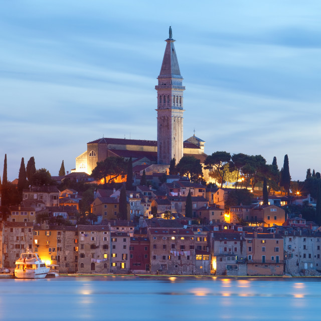 """croatia, istria - town of rovinj at dusk"" stock image"