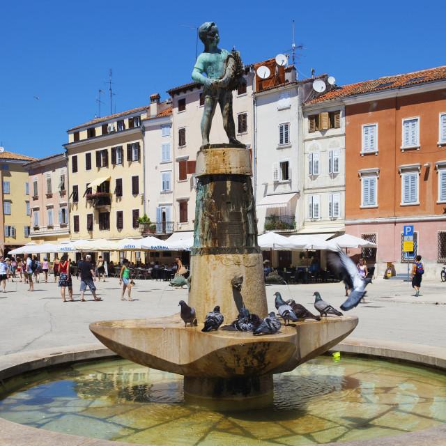 """croatia, istria, rovinj - old town square"" stock image"