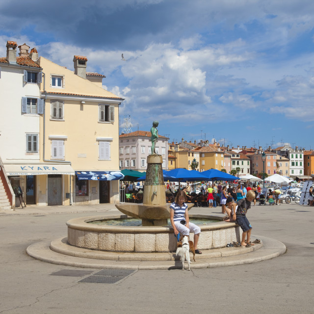 """""""croatia, istria, rovinj - old town square with fountain and town hall"""" stock image"""