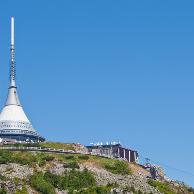 """czech republic, liberec - 1012 high tv tower and hotel - architect hubacek"" stock image"