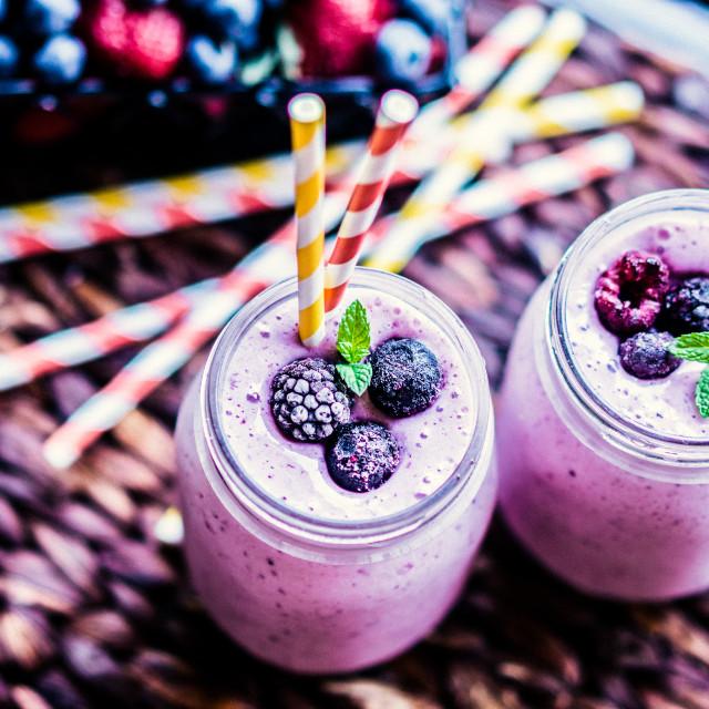 """""""Fresh berry smoothies on mason jars"""" stock image"""