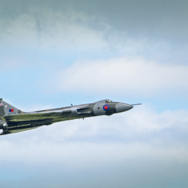 """Vulcan XH558 in flight"" stock image"