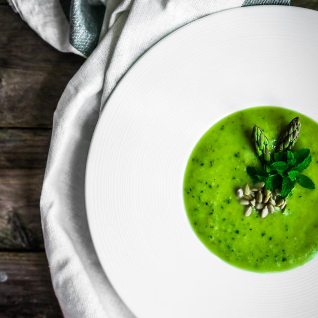 """Green vegetable cream soup"" stock image"