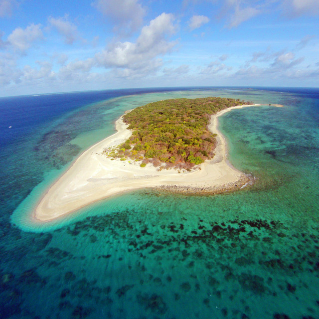 """Coral Cay from the air"" stock image"
