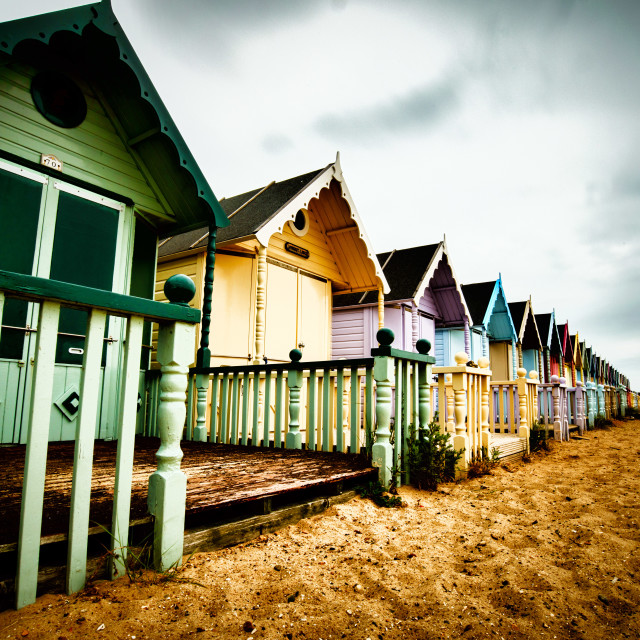 """Mersea Beach Huts Vintage Style"" stock image"
