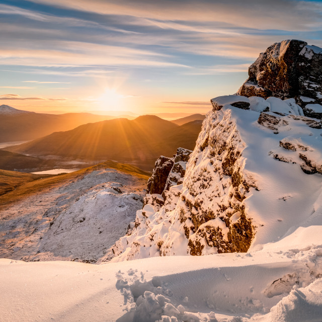 """Winter sunrise on The Cobbler"" stock image"