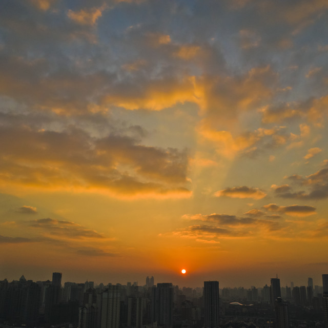 """sunset of shanghai"" stock image"