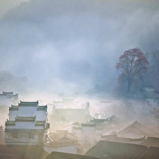 """""""Village in the morning"""" stock image"""