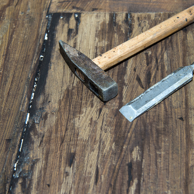 """Hammer and chisel"" stock image"
