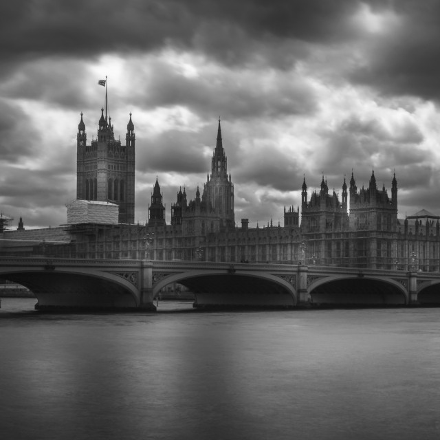 """house of parliament B&W"" stock image"