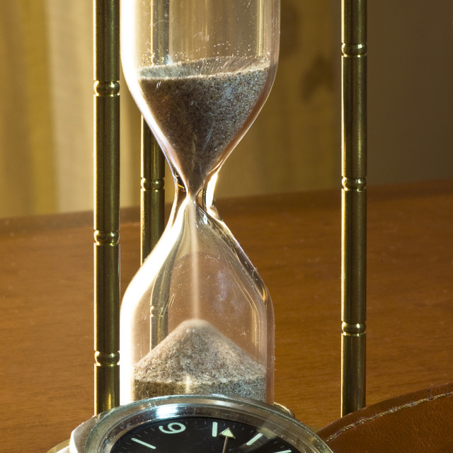 """contrast conceptual: still/ fast Time flows visual comparison between time meters of different periods"" stock image"