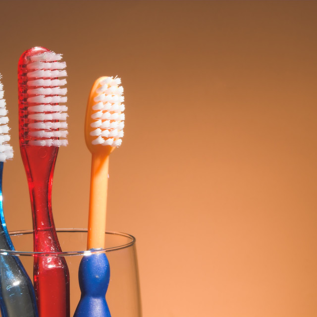 """""""A Family's Toothbrushes"""" stock image"""