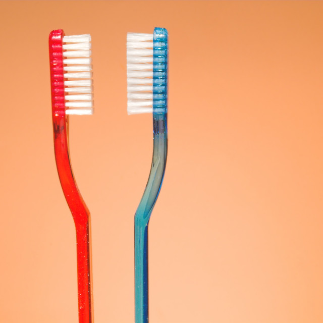 """""""His and Hers Toothbrushes"""" stock image"""
