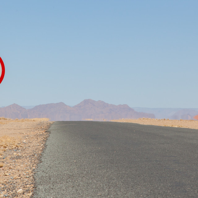 """""""Speed limit sign at a desert road in Namibia"""" stock image"""